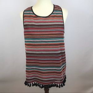 Laundry brand colorful top with fringe tassle